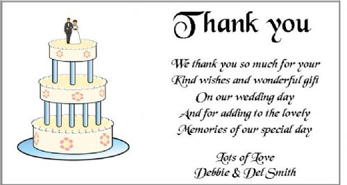 Thank You Gift Cards Wedding Personalised -  Wedding Cake  Design x 10